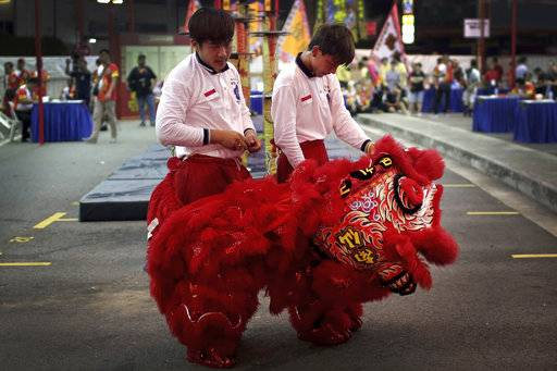 CORRECTS TO TROUPE- In this Friday, Feb. 2, 2018, photo, members of a lion dance troupe from Indonesia undress after falling during their routine while competing in the 11th International Lion Dance Competition in Singapore. This lion dace competition is usually held in a lead up to the Chinese Lunar New Year celebrated in Singapore. Lion dance is a traditional dance in Chinese culture and some other Asian countries in which performers from a lion dance troupe will mimic a lion's movements while dressed in a lion's costume. This is believed to bring fortune and luck. These performers from Vietnam, Singapore, Myanmar, Indonesia, Hong Kong, Taiwan and Malaysia gathered in Singapore to compete against one another and are judged on their skill, grace and musicality amongst other things.