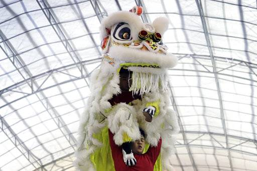 CORRECTS TO TROUPE - In this Friday, Feb. 2, 2018, photo, members of a lion dance troupe from Hong Kong compete in the 11th International Lion Dance Competition in Singapore. This lion dace competition is usually held in a lead up to the Chinese Lunar New Year celebrated in Singapore. Lion dance is a traditional dance in Chinese culture and some other Asian countries in which performers from a lion dance troupe will mimic a lion's movements while dressed in a lion's costume. This is believed to bring fortune and luck. These performers from Vietnam, Singapore, Myanmar, Indonesia, Hong Kong, Taiwan and Malaysia gathered in Singapore to compete against one another and are judged on their skill, grace and musicality amongst other things.