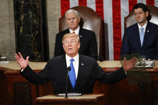 In this Jan. 30, 2018, photo, President Donald Trump delivers his State of the Union address to a joint session of Congress on Capitol Hill in Washington. Trump struck a variety of false notes in his big speech to Congress this past week and followed up with a curious coda _ a plain-as-your-face exaggeration about the TV audience that tuned in for it.