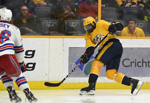 Nashville Predators defenseman P.K. Subban (76) shoots a goal past New York Rangers left wing Jimmy Vesey (26) in the second period of an NHL hockey game Saturday, Feb. 3, 2018, in Nashville, Tenn. (George Walker IV/The Tennessean via AP)