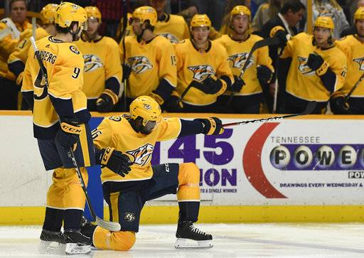 Nashville Predators defenseman P.K. Subban (76) celebrates his goal against the New York Rangers with left wing Filip Forsberg (9) in the second period of an NHL hockey game Saturday, Feb. 3, 2018, in Nashville, Tenn. (George Walker IV/The Tennessean via AP)