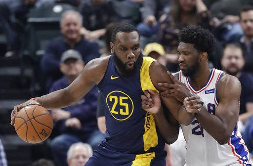 Indiana Pacers' Al Jefferson is defended by Philadelphia 76ers' Joel Embiid during the first half of an NBA basketball game, Saturday, Feb. 3, 2018, in Indianapolis.