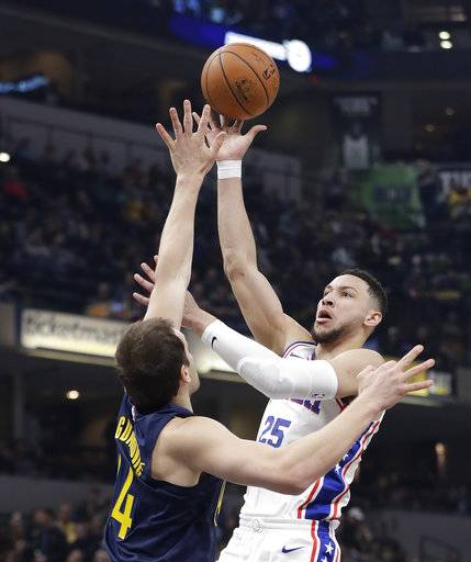 Philadelphia 76ers' Ben Simmons, right, shoots over Indiana Pacers' Bojan Bogdanovic during the first half of an NBA basketball game, Saturday, Feb. 3, 2018, in Indianapolis.