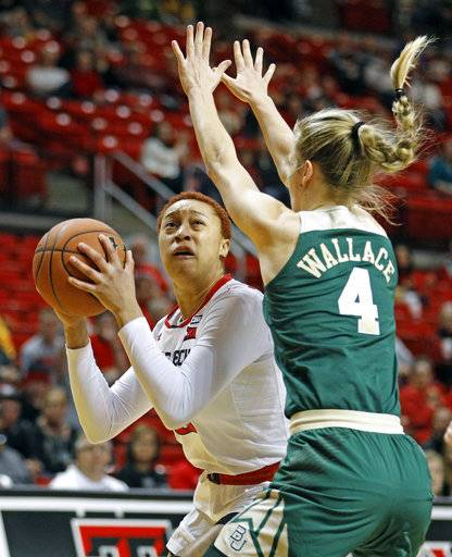 Texas Tech's Brielle Blaire (00) looks to shoot the ball around Baylor's Kristy Wallace (4) during the first half of an NCAA college basketball game Saturday, Feb. 3, 2018, in Lubbock, Texas.