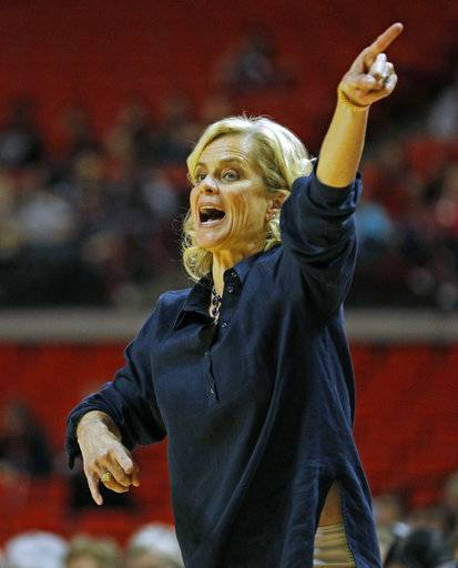 Baylor coach Kim Mulkey calls out a play to her team during the second half of an NCAA college basketball game against Texas Tech, Saturday, Feb. 3, 2018, in Lubbock, Texas.