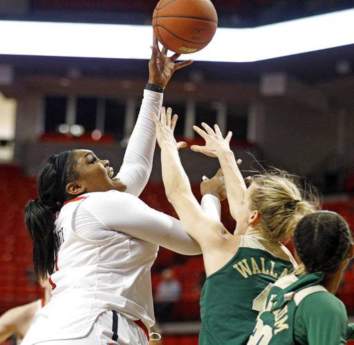 Texas Tech's Erin Degrate (1) shoots the ball over Baylor's Kristy Wallace (4) during the second half of an NCAA college basketball game Saturday, Feb. 3, 2018, in Lubbock, Texas.