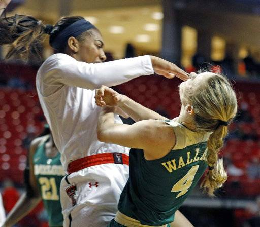 Texas Tech's Zuri Sanders (30) charges through Baylor's Kristy Wallace (4) during the first half of an NCAA college basketball game Saturday, Feb. 3, 2018, in Lubbock, Texas.