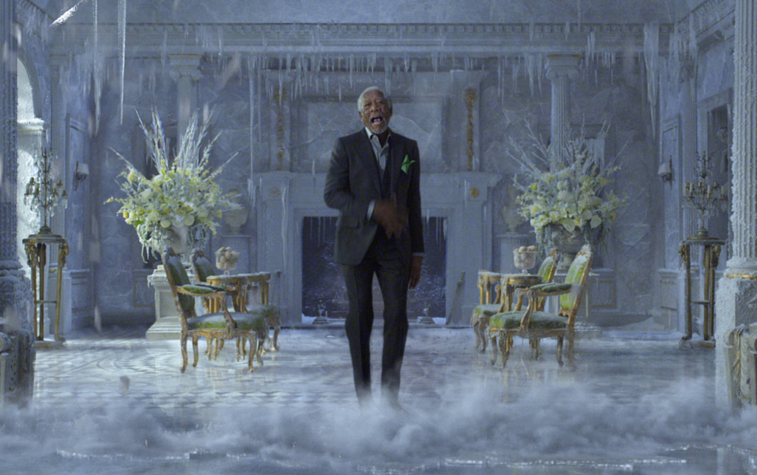 Morgan Freeman in a Mountain Dew Ice Super Bowl spot.