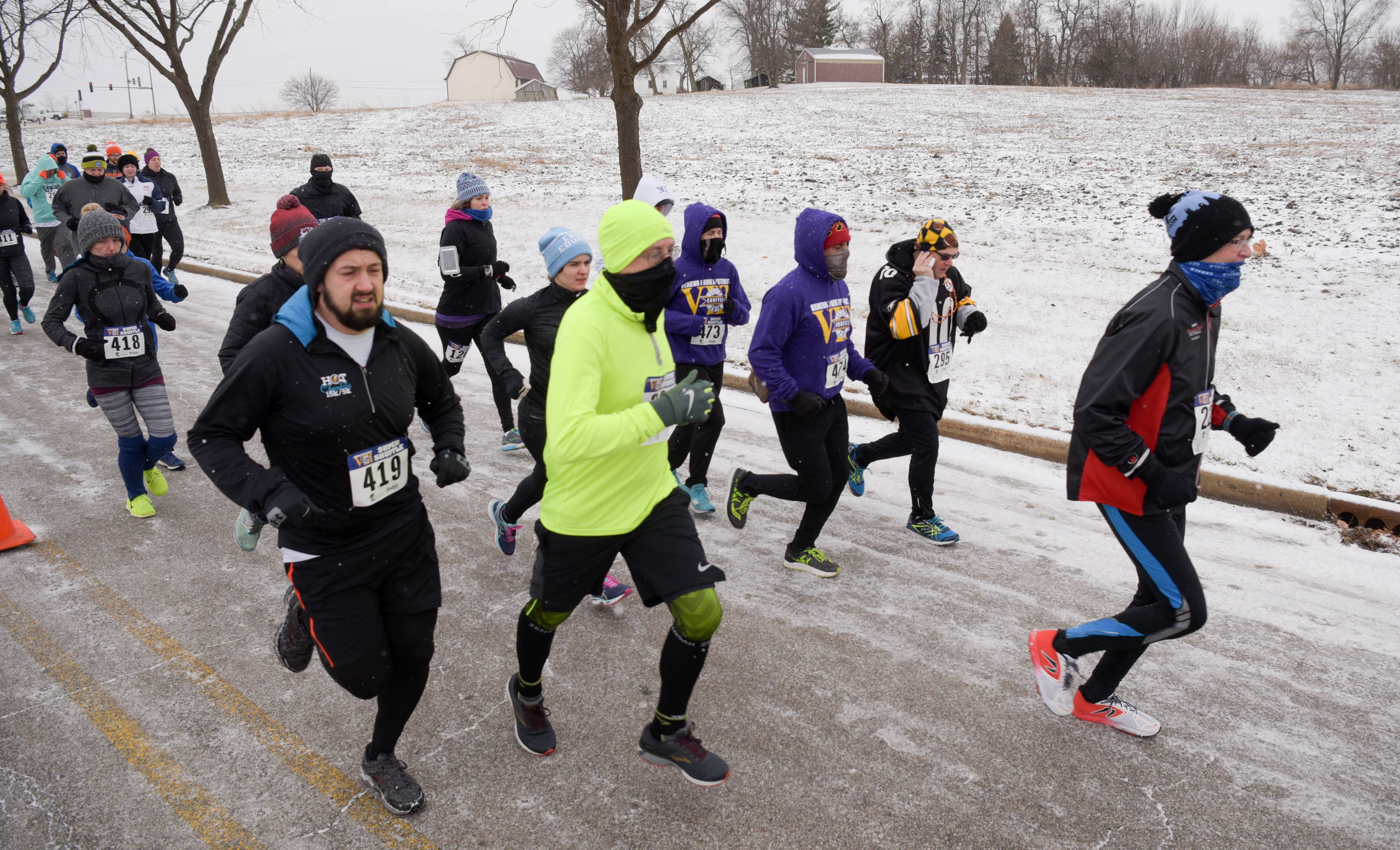 The annual Super Shuffle 5K in Geneva kicked off Sunday morning along Viking Drive in front of the Geneva Middle School with a route along the outer trail of Peck Farm.