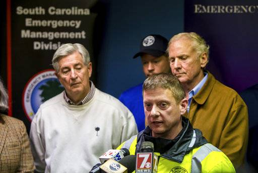 Lexington (SC) County Public Safety Director David Kerr, front right, speaks at a press conference following a crash between an Amtrak train and CSX freight train in Cayce, SC, near Charleston Highway and Pine Ridge Road around 2:35 a.m. Sunday, Feb. 4, 2018.  At least two people were killed and at least 70 people were injured.