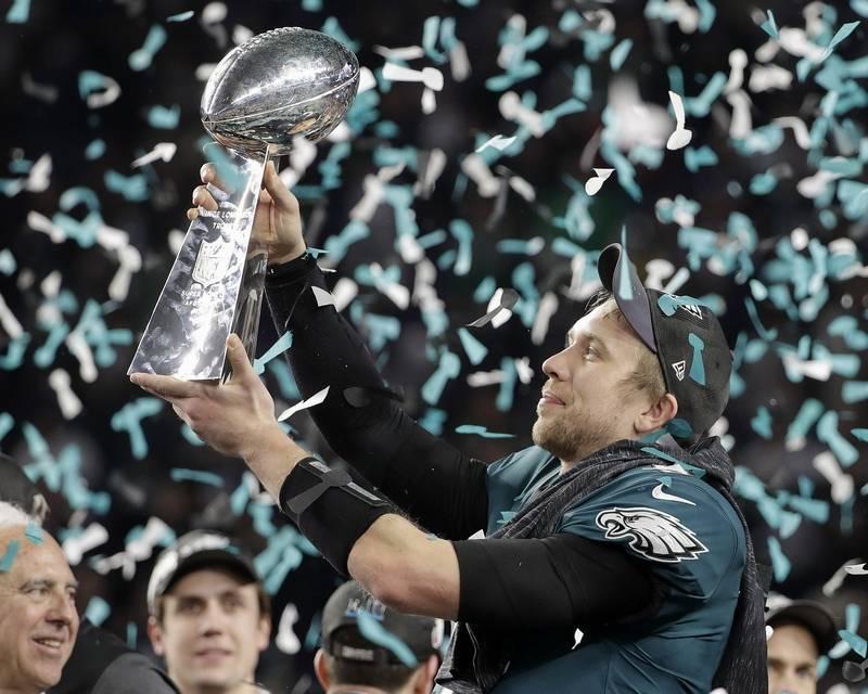 Philadelphia Eagles Nick Foles Holds Up The Vince Lombardi Trophy After NFL Super Bowl