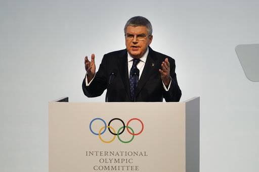 IOC President Thomas Bach speaks during the opening ceremony of the 132nd IOC session ahead of the 2018 Winter Olympics in Gangneung, South Korea, Monday, Feb. 5, 2018.