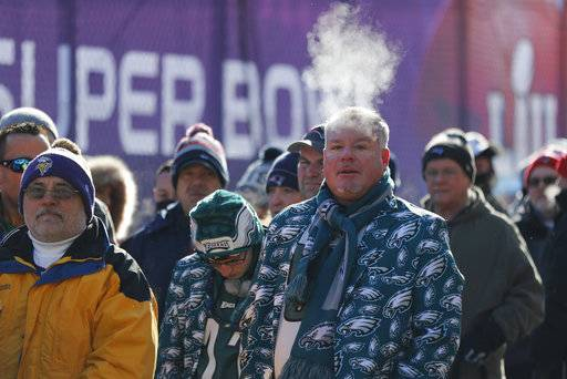 Fans brave cold temperatures as they wait to get into U.S. Bank Stadium before the NFL Super Bowl 52 football game between the Philadelphia Eagles and the New England Patriots Sunday, Feb. 4, 2018, in Minneapolis.