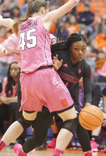 Louisville's Dana Evans, right, gets past Syracuse's Digna Strautmane, left, in the third quarter of an NCAA college basketball game in Syracuse, N.Y., Sunday, Feb. 4, 2018.