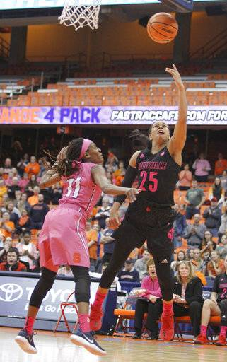 Louisville's Asia Durr, right, shoots over Syracuse's Gabrielle Cooper, left, in the third quarter of an NCAA college basketball game in Syracuse, N.Y., Sunday, Feb. 4, 2018.