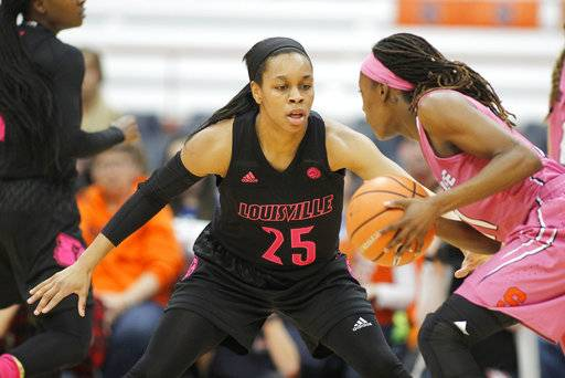 Louisville's Asia Durr, left, covers Syracuse's Gabrielle Cooper, right, in the first quarter of an NCAA college basketball game in Syracuse, N.Y., Sunday, Feb. 4, 2018.