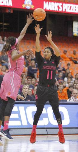 Louisville's Arica Carter, right, shoots over Syracuse's Gabrielle Cooper, left, in the first quarter of an NCAA college basketball game in Syracuse, N.Y., Sunday, Feb. 4, 2018.