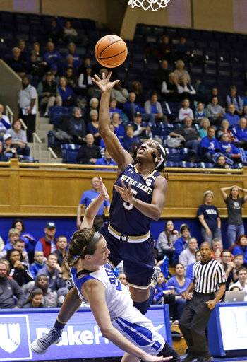 Notre Dame's Jackie Young (5) drives to the basket while Duke's Rebecca Greenwell defends during the first half of an NCAA college basketball game in Durham, N.C., Sunday, Feb. 4, 2018.