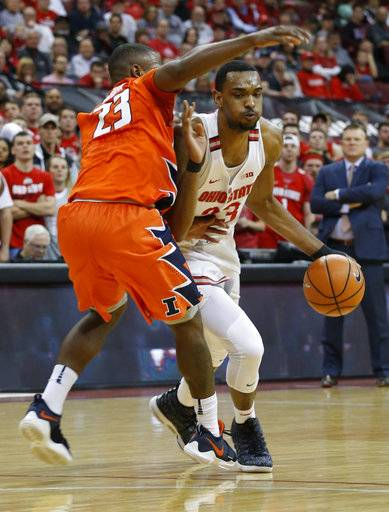 Ohio State's Keita Bates-Diop, right, drives the lane against Illinois' Aaron Jordan during the second half of an NCAA college basketball game Sunday, Feb. 4, 2018, in Columbus, Ohio.