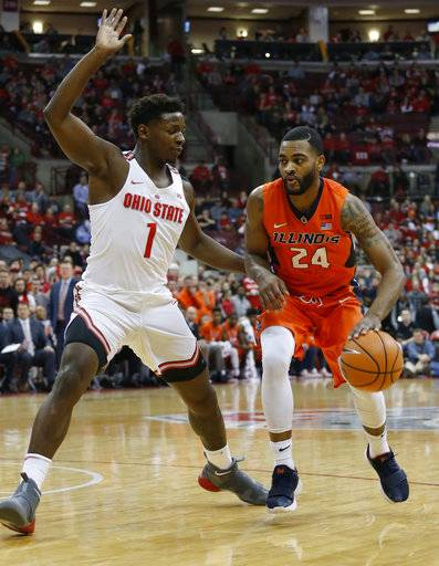 Illinois' Mark Alstork, right, drives to the basket against Ohio State's Jae'Sean Tate during the first half of an NCAA college basketball game Sunday, Feb. 4, 2018, in Columbus, Ohio.