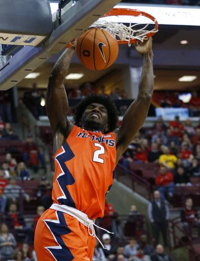 Illinois' Kipper Nichols dunks against Ohio State's during the first half of an NCAA college basketball game Sunday, Feb. 4, 2018, in Columbus, Ohio.