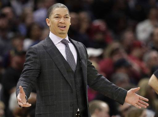 FILE - In this Jan. 20, 2018, file photo, Cleveland Cavaliers head coach Tyronn Lue reacts in the first half of an NBA basketball game against the Oklahoma City Thunder in Cleveland. A person with direct knowledge of the situation says the Cavaliers have no plans to fire Lue despite the team's troubling slide.