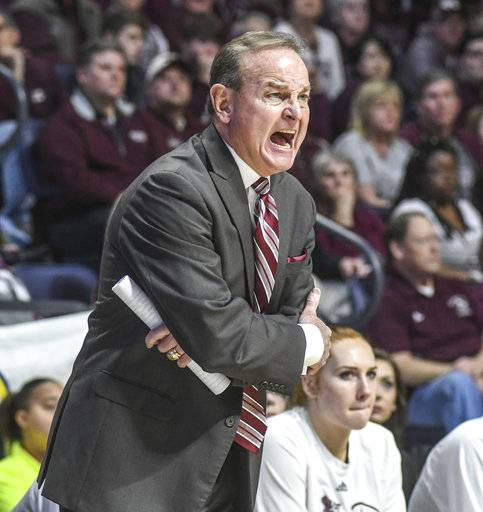 Mississippi State coach Vic Schaefer yells instructions during an NCAA college basketball game against Mississippi in Oxford, Miss., Sunday, Jan. 28, 2018. (Bruce Newman/The Oxford Eagle via AP)