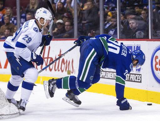 Vancouver Canucks' Brandon Sutter (20) is checked by Tampa Bay Lightning's Slater Koekkoek (29) during the third period of an NHL hockey game Saturday, Feb. 3, 2018, in Vancouver, British Columbia. (Ben Nelms/The Canadian Press via AP)
