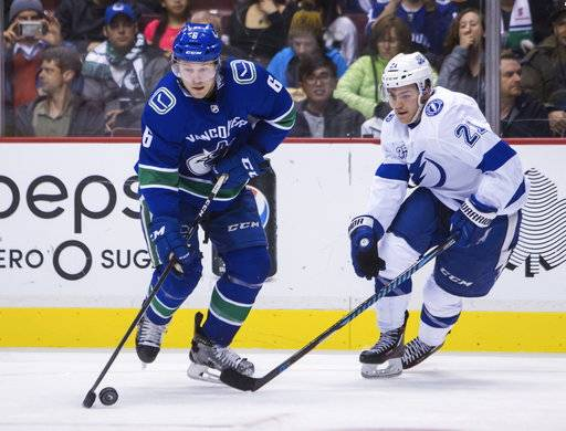 Vancouver Canucks' Brock Boeser (6) plays the puck near Tampa Bay Lightning's Brayden Point (21) during the second period of an NHL hockey game Saturday, Feb. 3, 2018, in Vancouver, British Columbia. (Ben Nelms/The Canadian Press via AP)