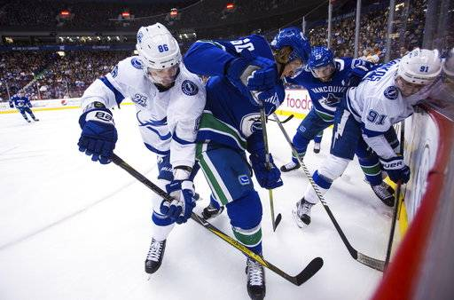Tampa Bay Lightning's Nikita Kucherov (86) checks Vancouver Canucks' Markus Granlund (60) during first-period NHL hockey game action in Vancouver, British Columbia, Saturday, Feb. 3, 2018. (Ben Nelms/The Canadian Press via AP)