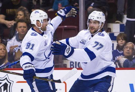 Tampa Bay Lightning's Victor Hedman (77) celebrates his goal against the Vancouver Canucks with teammate Steven Stamkos (91) during first-period NHL hockey game action in Vancouver, British Columbia, Saturday, Feb. 3, 2018. (Ben Nelms/The Canadian Press via AP)