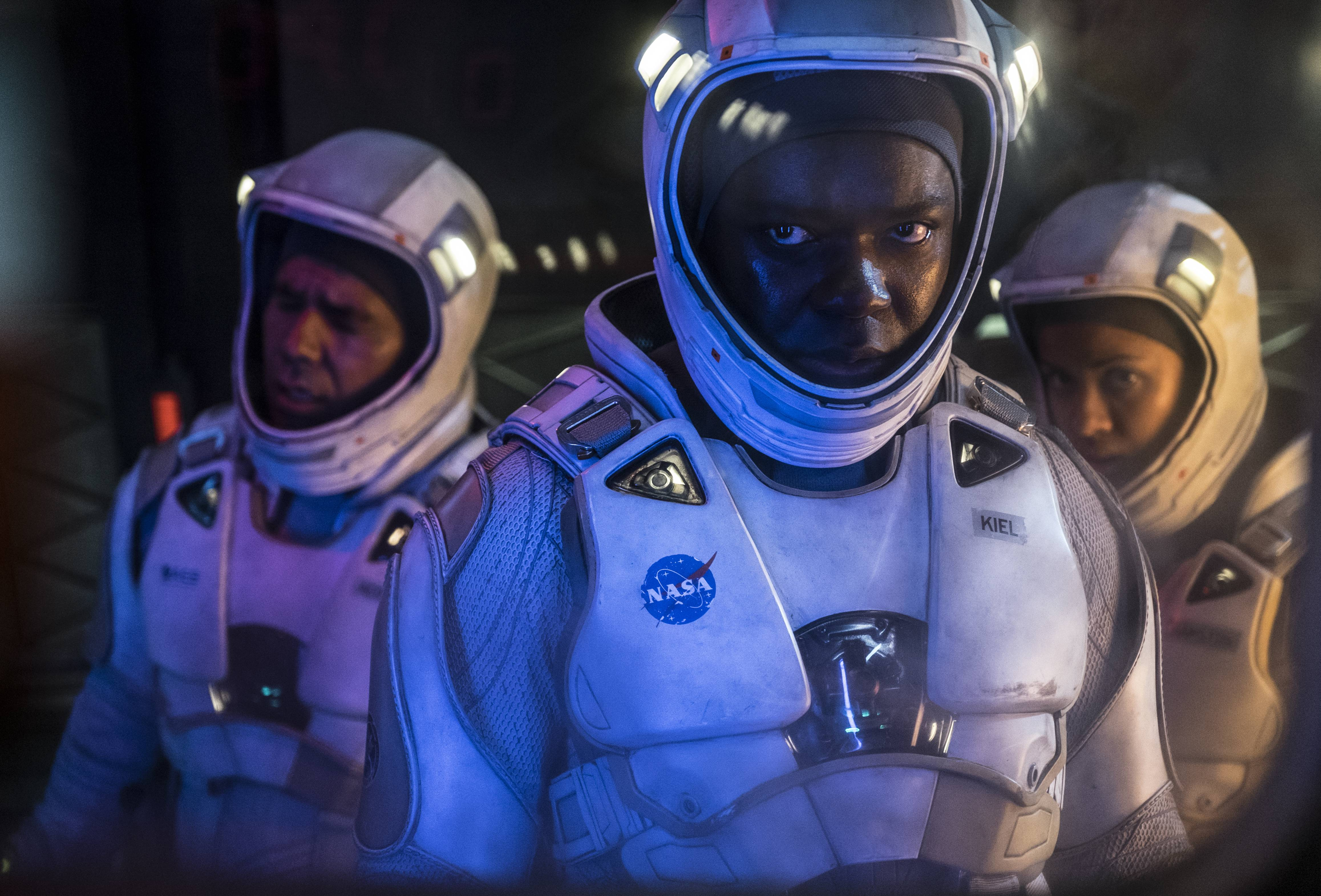 "John Ortiz, left, David Oyelowo and Gugu Mbatha-Raw star in ""The Cloverfield Paradox,"" the latest installment in producer J.J. Abrams' sci-fi anthology film series, which is now streaming on Netflix."