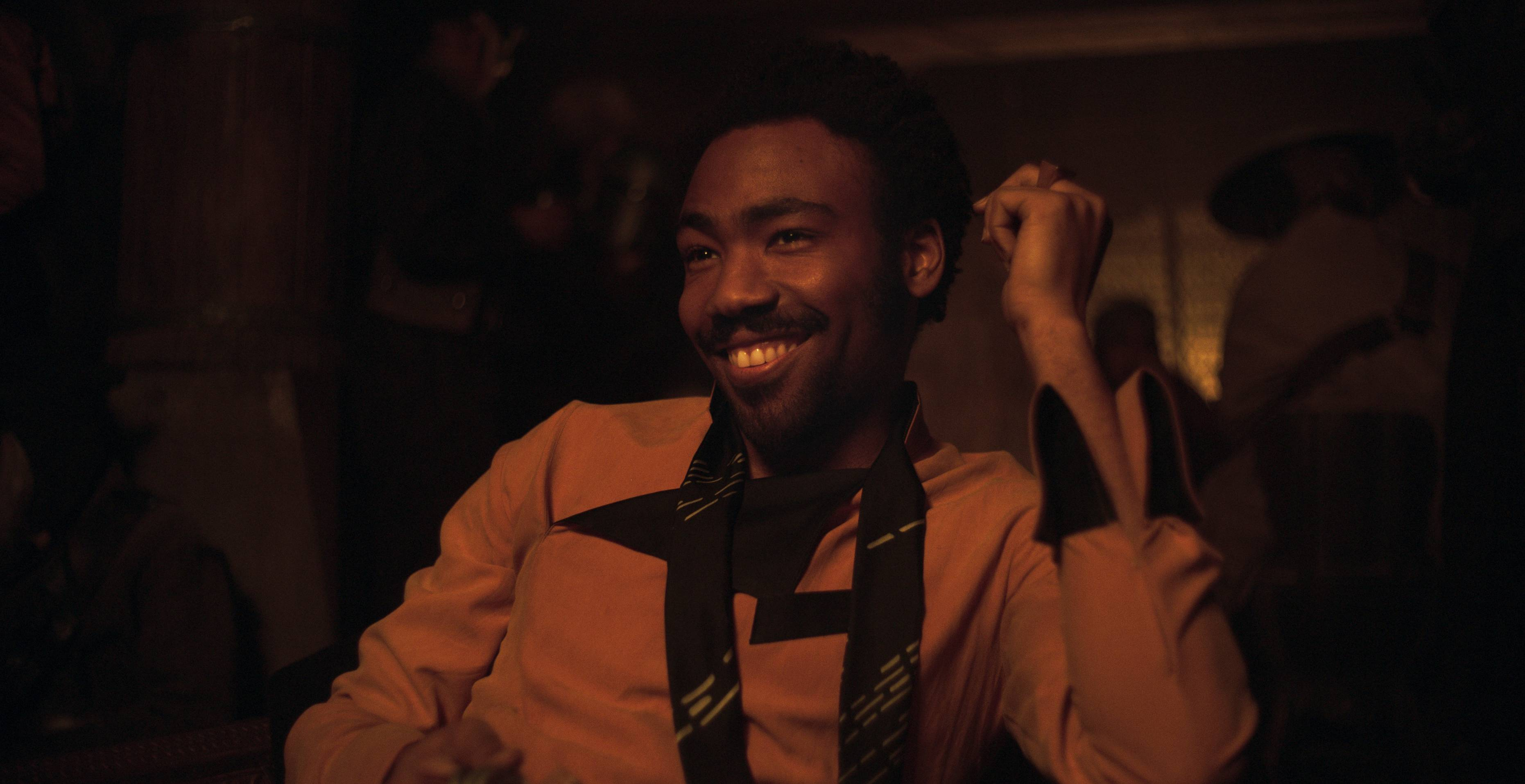 "This image released by Disney shows Donald Glover as Lando Calrissian in a scene from ""Solo: A Star Wars Story,"" starring Alden Ehrenreich as Han Solo."