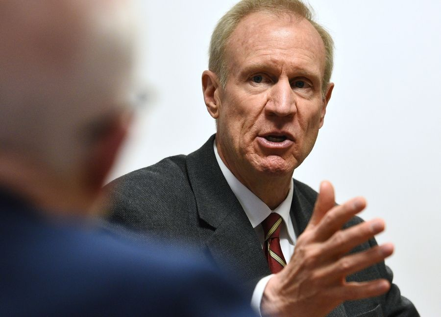 Illinois Gov. Bruce Rauner, in a meeting Monday with the Daily Herald editorial board, slammed a controversial ad from his GOP opponent, state Rep. Jeanne Ives.