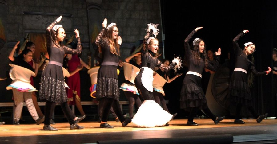 "Carl Sandburg Middle School students rehearse for ""Beauty and the Beast Jr."" at the school in Mundelein."