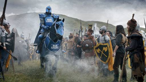 This photo provided by Bud Light shows a scene from the company's Super Bowl spot. For the 2018 Super Bowl, marketers are paying more than $5 million per 30-second spot to capture the attention of more than 110 million viewers. (Bud Light via AP)