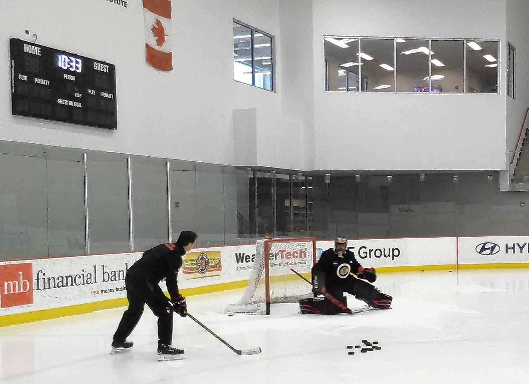 Blackhawks goalie Corey Crawford, who hasn't played a game since Dec. 23, was back on the ice early Monday morning for another workout with coach Jimmy Waite.