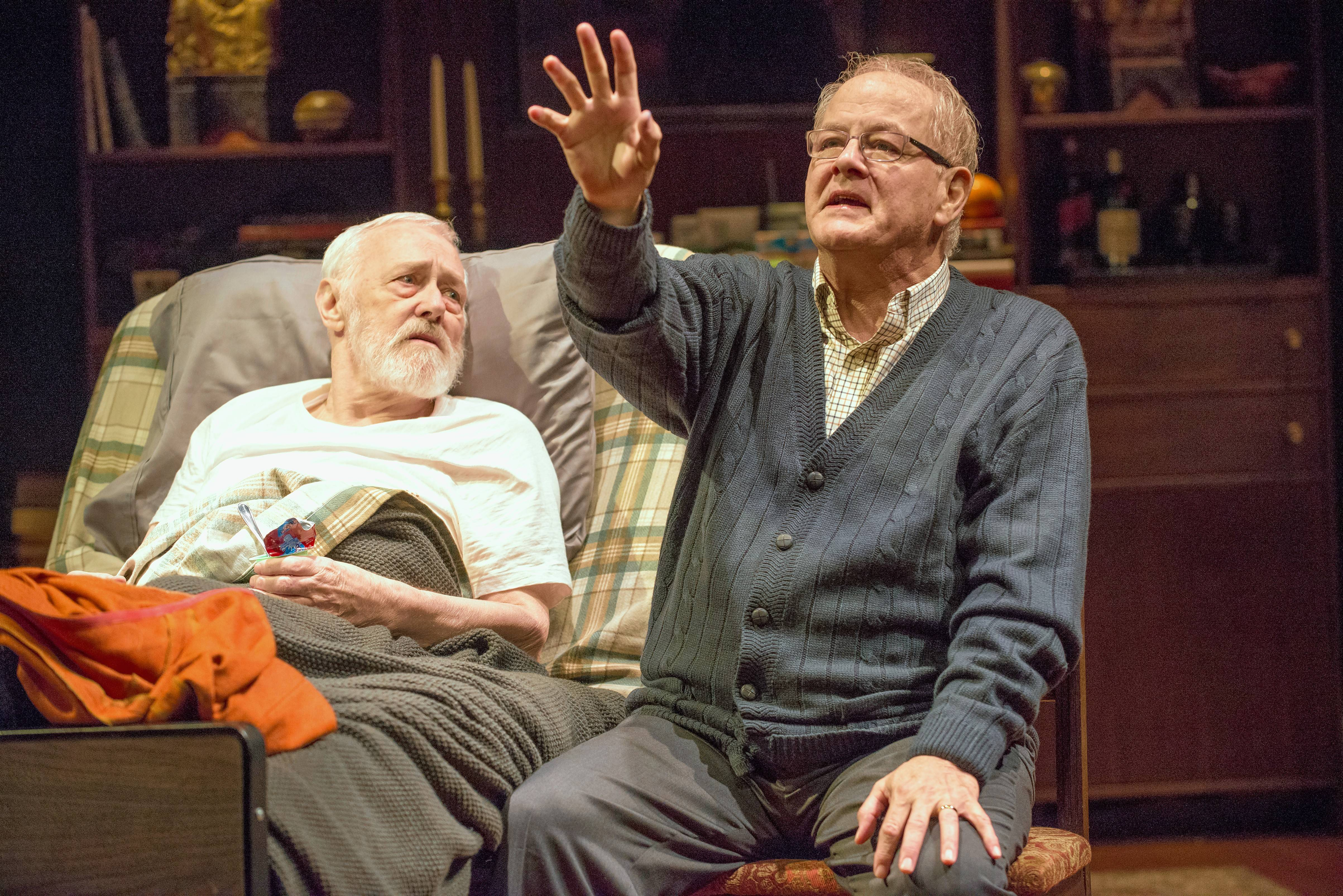 "John Mahoney, left, played a terminally ill poet and Francis Guinan played his partner in Steppenwolf Theatre's 2017 Midwest premiere of ""The Rembrandt."""