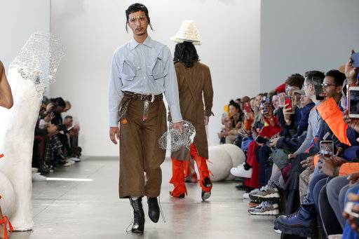 The Sanchez-Kane Fall 2018 collection is modeled during Fashion Week in New York, Monday, Feb. 5, 2018.