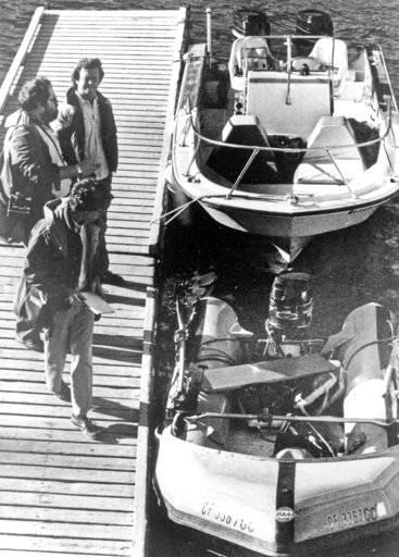 "FILE - This Nov. 30, 1981 file photo shows the ""Prince Valiant,"" the inflatable dinghy used by Natalie Wood, moored at the harbor in Avalon, Calif., after it washed up on the rocks on Santa Catalina Island. Patrolmen discovered the actress' body 200 yards off Blue Cavern Point on Catalina Island, 100 yards away from the boat after a seven hour search. Investigators are now calling her husband, Robert Wagner, a ""person of interest"" in the 1981 death of Wood. Mystery has swirled around Wood's death. It was declared an accident but police reopened the case in 2011 to see whether Wagner or anyone else played a role"