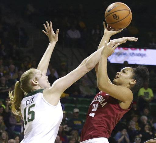 Baylor forward Lauren Cox, left, fouls Oklahoma guard Ana Llanusa, right, during the first half of an NCAA college basketball game, Monday, Feb. 5, 2018, in Waco, Texas.