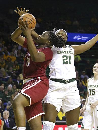 Oklahoma center Vionise Pierre-Louis, left, is fouled by Baylor center Kalani Brown, right, during the first half of an NCAA college basketball game, Monday, Feb. 5, 2018, in Waco, Texas.