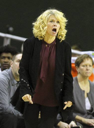 Oklahoma head coach Sherri Coale calls plays to her team against Baylor during the first half of an NCAA college basketball game, Monday, Feb. 5, 2018, in Waco, Texas.