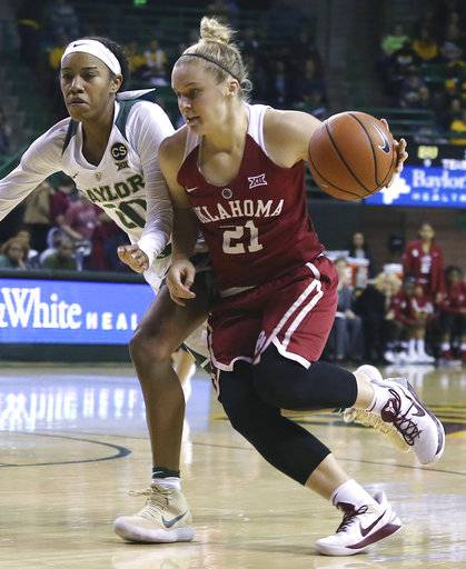 Oklahoma guard Gabbi Ortiz, right, drives the ball up court against Baylor guard Juicy Landrum, left, during the first half of an NCAA college basketball game, Monday, Feb. 5, 2018, in Waco, Texas.