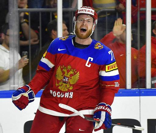 FILE - In this May 16, 2017, file photo, Russia's defender Anton Belov reacts after scoring against the U.S. during their Ice Hockey World Championships group A game at the LANXESS arena in Cologne, Germany. Six-time Olympic gold medalist Viktor Ahn and three former NHL players, including Belov, are among 32 Russian athletes who filed appeals Tuesday, Feb. 6, 2018, seeking spots at the Pyeongchang Olympics.