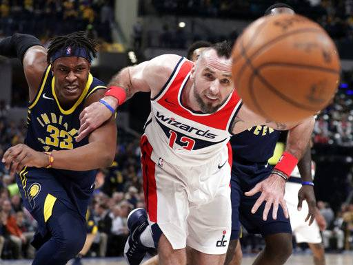 Washington Wizards center Marcin Gortat (13) and Indiana Pacers center Myles Turner (33) go for a loose ball during the first half of an NBA basketball game in Indianapolis, Monday, Feb. 5, 2018.