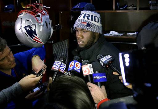 New England Patriots defensive end Eric Lee takes questions from reporters in the team's locker room, Monday, Feb. 5, 2018, at Gillette Stadium, in Foxborough, Mass., following the team's loss to the Philadelphia Eagles in the NFL Super Bowl 52 football game in Minneapolis, Sunday.