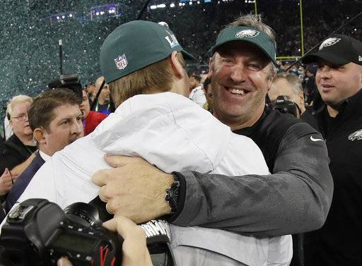 Philadelphia Eagles head coach Doug Pederson, right, celebrates with Carson Wentz after the NFL Super Bowl 52 football game against the New England Patriots Sunday, Feb. 4, 2018, in Minneapolis. The Eagles won 41-33.