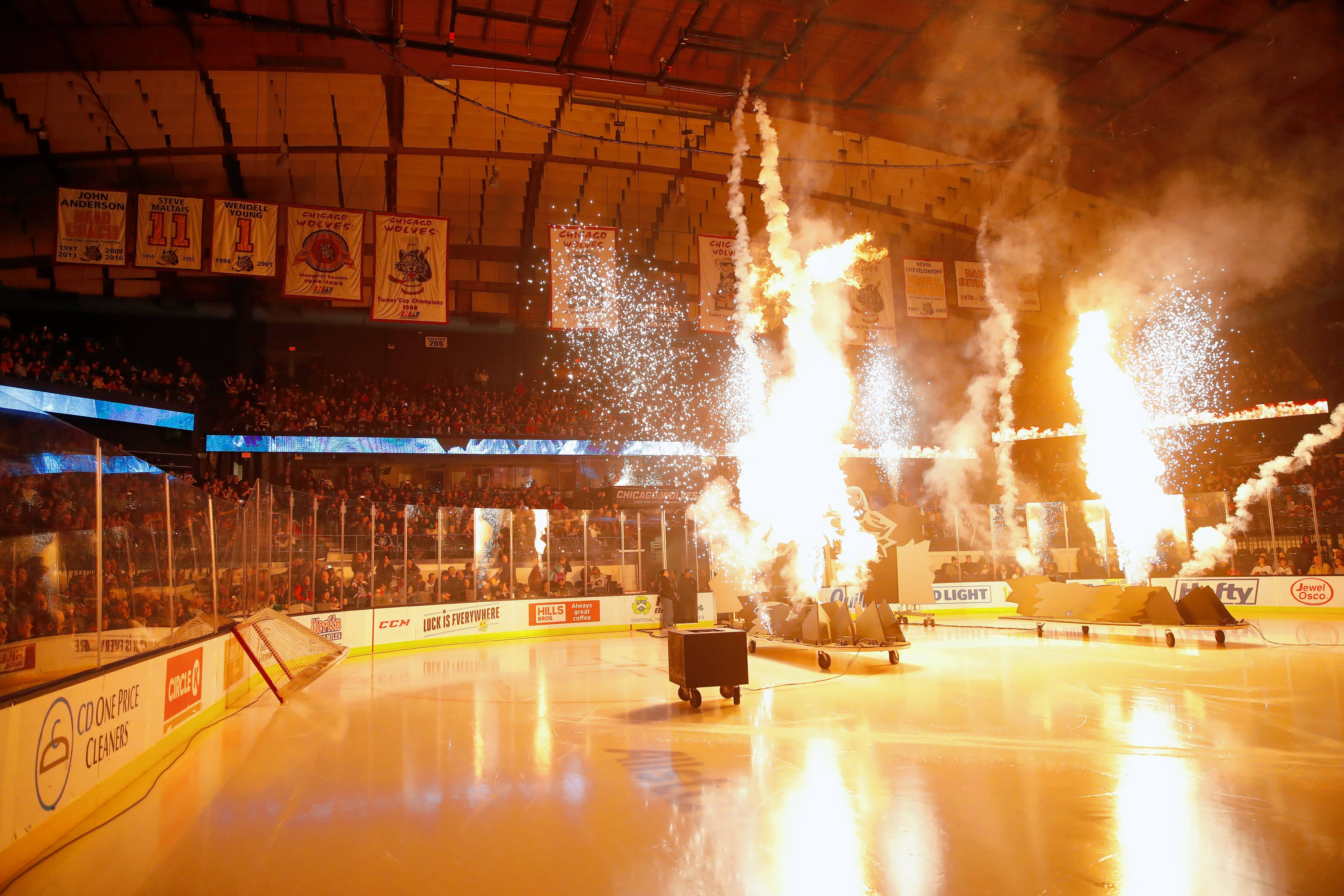 Strictly FX of Wood Dale creates the Chicago Wolves' pregame pyrotechnics. Since beginning to work with the team in the mid-1990s, the company has grown to provide pyrotechnics for major rock concerts and the Super Bowl.