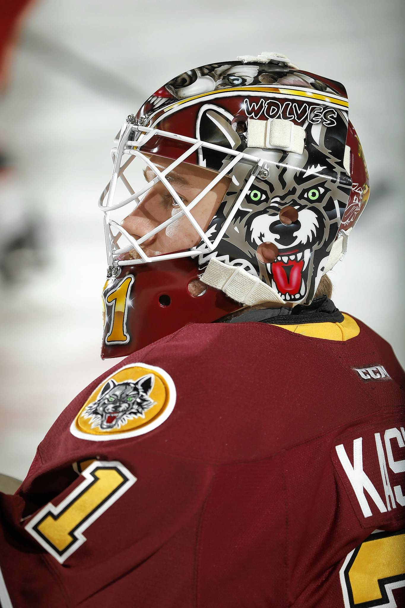 Don McClelland of Warrenville created the artwork on Wolves goalie Kasimir Kaskisuo's new mask. McClelland also produces customized mask art for local high schools and men's leagues.